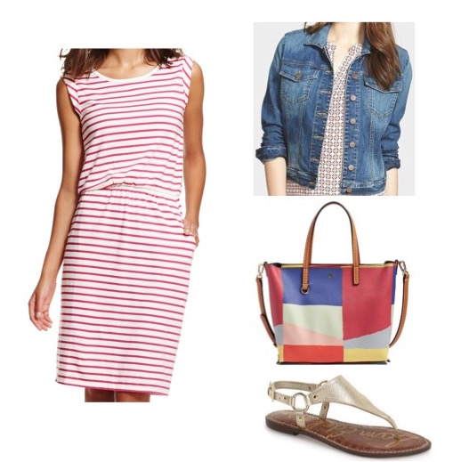 Striped dress by Boden.  Denim jacket by Kut from the Kloth.  Gold sandals by Sam Edelman.  Color block tote by Tory Burch.