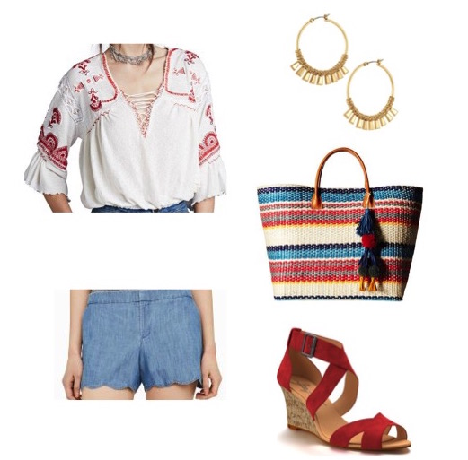 Embroidered top by Free People.  Chambray shorts by Club Monaco.  Red wedges by Shoes of Prey.  Hoop earrings by Stella & Dot.  Striped tote by Hat Attack.