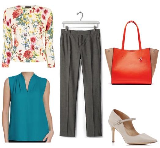 Floral cardigan by Karen Millen. Silk blouse by Elie Tahari. Pants and bag by Banana Republic. Heels by Via Spiga.
