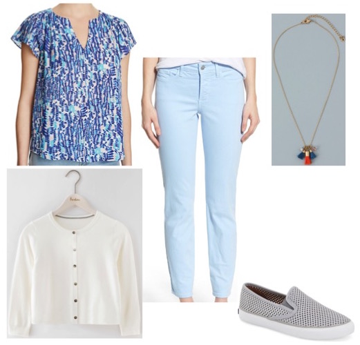 Print top by Aqua.  Cropped cardigan and necklace by Boden.  Five pocket ankle pants by NYDJ.  Perforated slip-ons by Sperry.