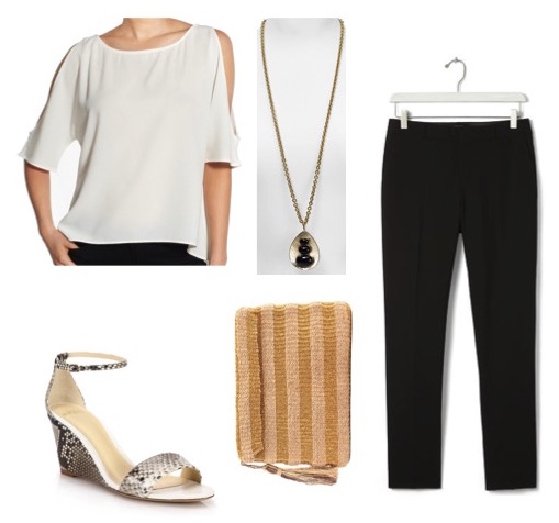 Ivory top by Trouvé.  Black pants by Banana Republic.  Snake print wedges by Alexandre Birman.  Pendant necklace by Aqua.  Metallic straw bag by Kayu Design.