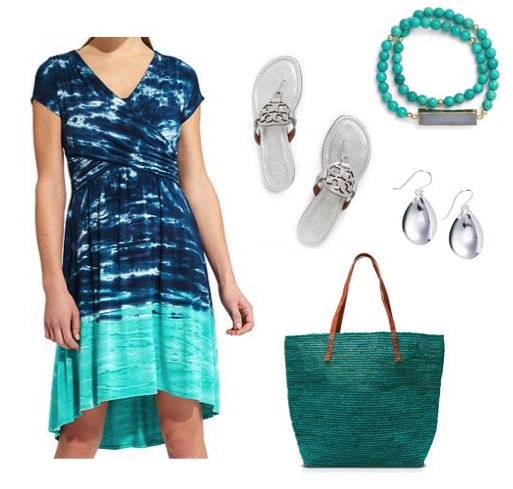 Knit dress by Athelta.  Silver sandals by Tory Burch.  Bracelet by Elise M.  Silver earrings by Argento Vivo.  Tote by mar Y sol.