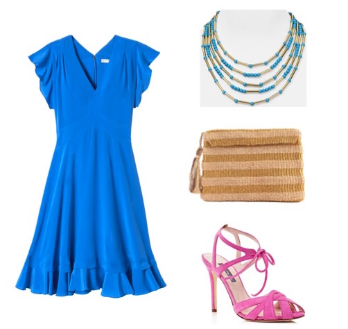 Fit and flare dress by Rebecca Taylor.  Suede heels by SJP.  Necklace by Aqua.   Metallic straw bag by Kayu Design.