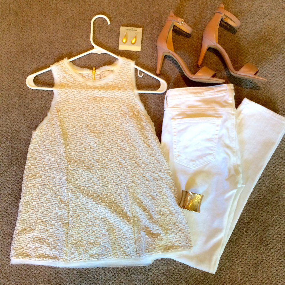 I created this look for a client, as a fun 'date night' outfit that's a bit different from her everyday.  The best thing is that it's so simple - a textured ivory top, white jeans, wear-with-everything nude sandals, and some gold jewelry, and she's out the door...