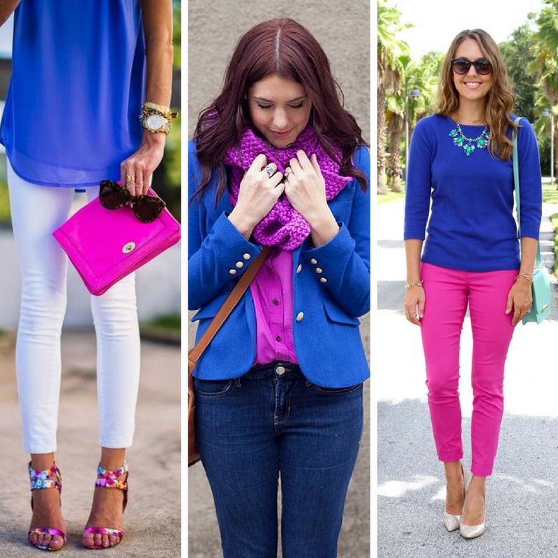 Fuchsia and cobalt - one of my favorite combos!  It works in all seasons, and will be sure to get you noticed.