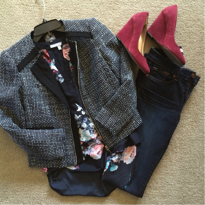 This outfit is from a client's look book - she's a stay-at-home mom with a busy schedule, and definitely didn't want to join the activewear crowd.  So we based the look in navy - blue jeans, navy floral blouse, and navy tweed blazer.  On the surface it's simple, but it shows her love of fashion.