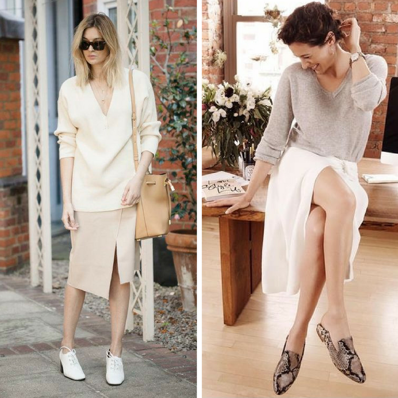 I love how these two outfits are feminine on the surface, but play with 'borrowed from the boys' style, if you look a little deeper.  Slit skirts contrast with oversize sweaters and flats that are rooted in menswear - all in a soft palette that belies the power of the looks.