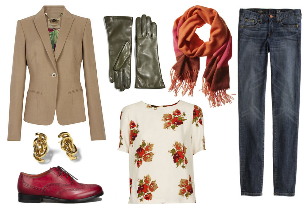 I created this outfit (previously on the blog) to demonstrate how menswear has influenced women's style.  It's based in almost all traditional male silhouettes - the only things that give a nod to women's fashion are the floral print, the cut of the blazer - and perhaps the green gloves?
