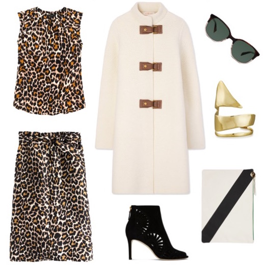 Leopard top   and   skirt   by J. Crew.    Ivory sweater-coat   and   suede booties   by Tory Burch.    Cream and black clutch   by Clare Vivier.    Gold cuff   by Alexis Bittar.    Sunglasses   by Warby Parker.