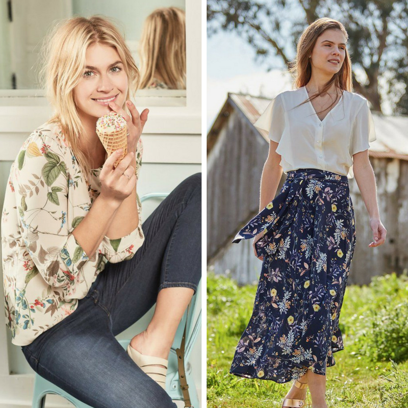 Ivory and navy based floral prints from  Amour Vert