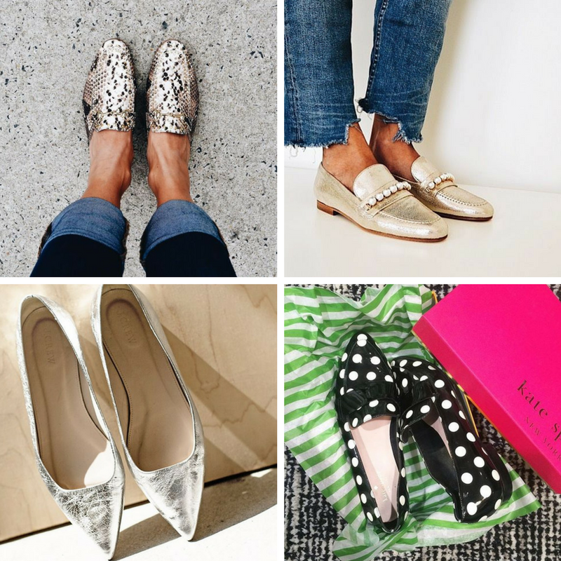 When heels aren't on the agenda, shine, print and texture ensure that your style doesn't fall flat (pun intended!).   Photos from  Pinterest ,  Dolci Firme ,  Kate Spade ,  Atelier Dore