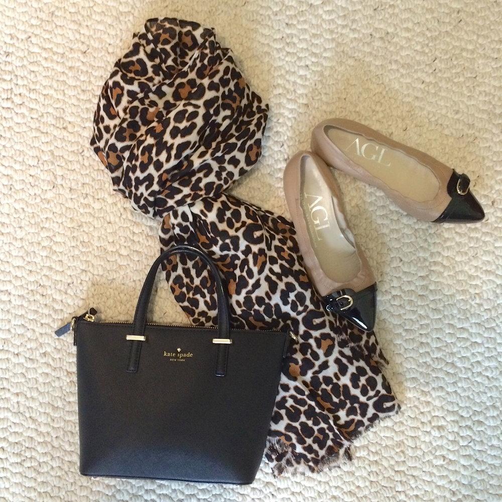 leopard scarf black bag color block flats.jpeg