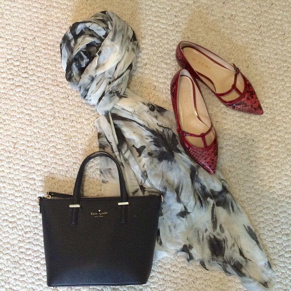 black.white scarf black bag red flats.jpeg