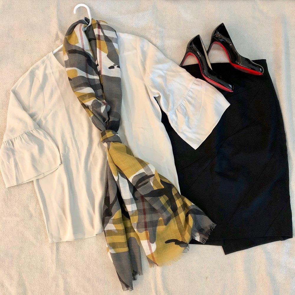 plaid scarf and pencil skirt.jpg