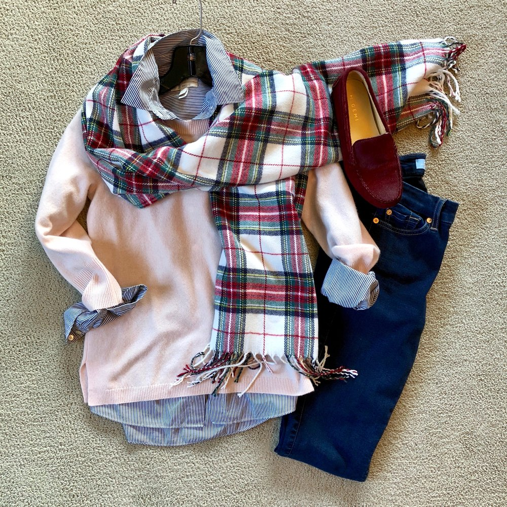 Plaid and stripes partner with blush and burgundy for a layered winter look. Just add a wool coat and you're ready to brave the cold!