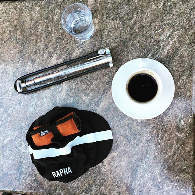 Empty jersey pockets at our Mid-Ride Coffee @northstbags @rapha
