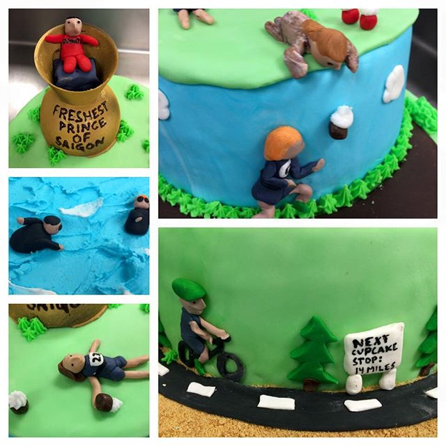 One of our triathlon fittees is an incredible professional baker! She makes cupcakes every year for the PeasantMan triathlon in DC, and she made this incredible cake for the event! Look at the details!! I love the racer on the ledge dropping a cupcake down to the runner😂😂 She's local in Seattle now btw if you have any baking needs like an incredibly creative cake for an event or special day! Check out her other awesome creations here: http://facebook.com/gottegrisbakery