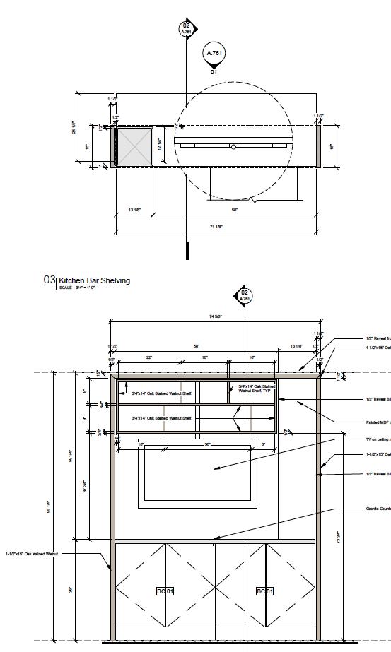 Bar/Kitchen Shelving Screen Detail Drawings