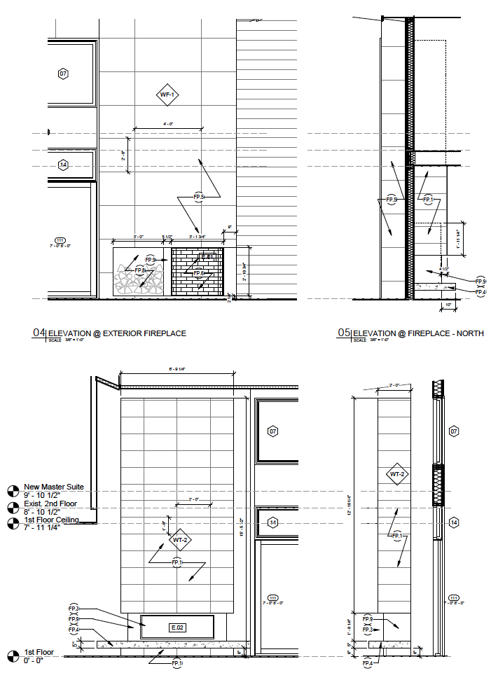Indoor/Outdoor Fireplace Detail Drawings