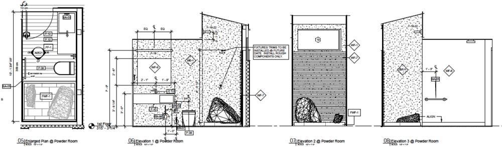 Enlarged Powder Room Drawings