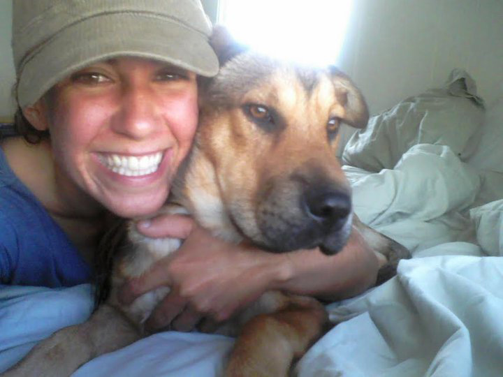 Jesse as a dog trainer in San Diego with her dog Kana