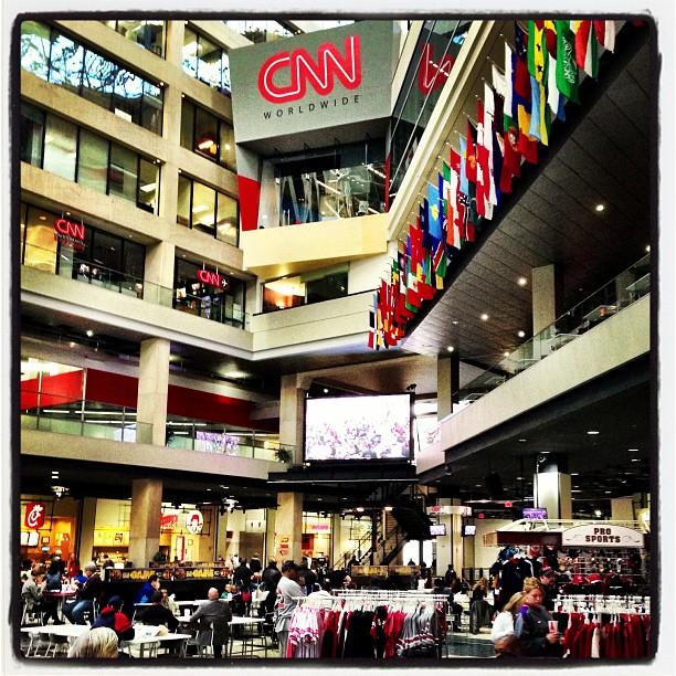 Watching the Innauguration (at CNN Center Atrium)