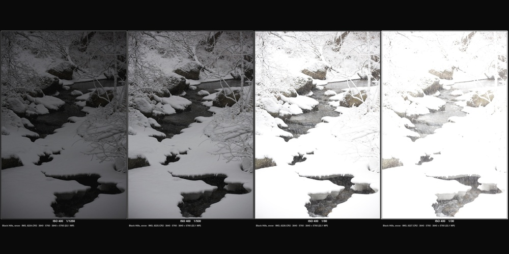 Four bracketed exposures of the same scene ranging from underexposed to overexposed. (Click to enlarge.)