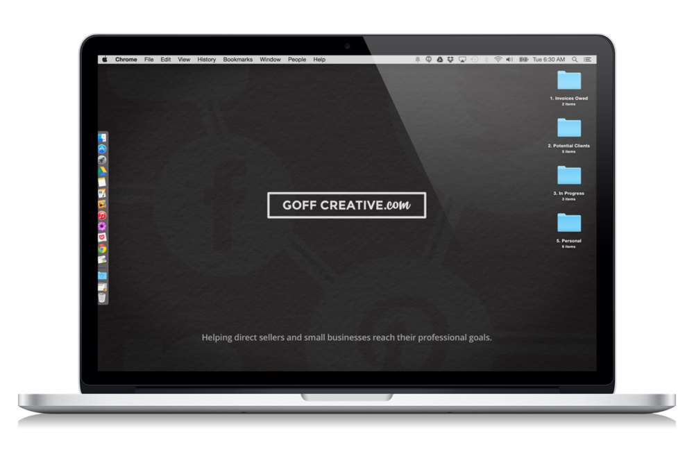 Example of a simple, uncluttered computer desktop — www.goffcreative.com