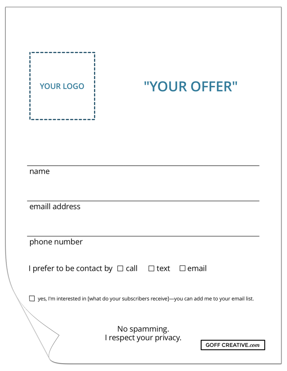 Sample of the Perfect Vendor Event Entry Form — www.goffcreative.com