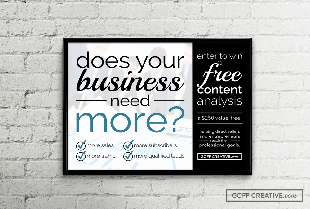 Does your business need more? More sales. More traffic. More subscribers. More qualified leads. [Get a Free Content Analysis]... — www.goffcreative.com