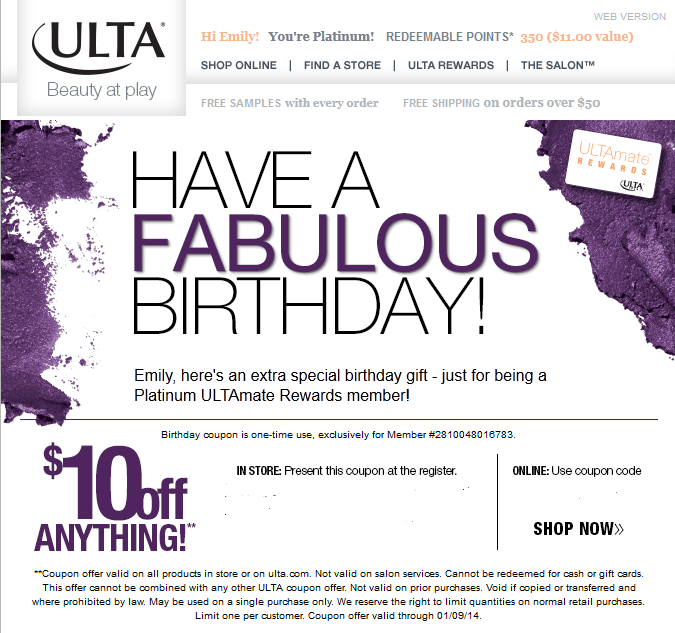Example of customer appreciation through birthday [month] rewards | Ex. ULTA | GoffCreative.com