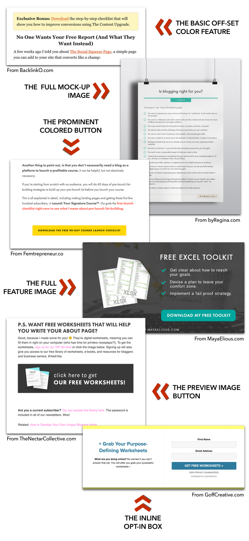 Examples of how you can add opt-in forms for your content upgrades into your blog posts. Click through to get more ideas + a free Content Upgrades Worksheet!