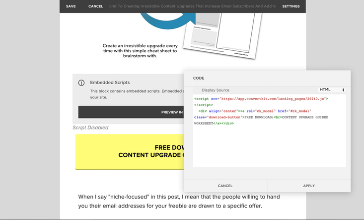 Using a Code Block within Squarespace 7 to add my pre-designed CSS modal pop-ups through ConvertKit