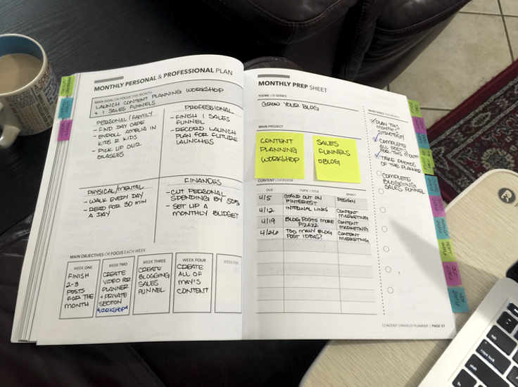 Example of a monthly planning section within my Content Strategy Planner.