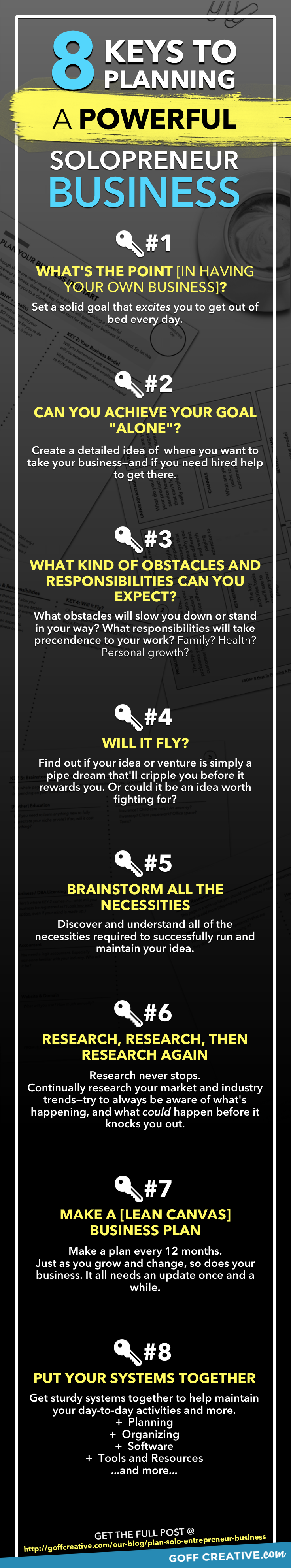 The 8 keys to planning a powerful solopreneur business, simplified. Click through to get the whole, resource-packed post or Pin this for later!