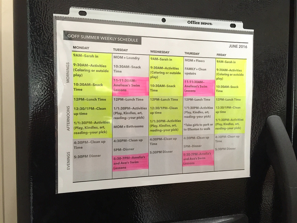 Example of a colorful family schedule (used for a part-time nanny and managing a day-to-day family schedule), on the refrigerator. Click through to get tips on scheduling your work-from-home days, or Pin this for later!