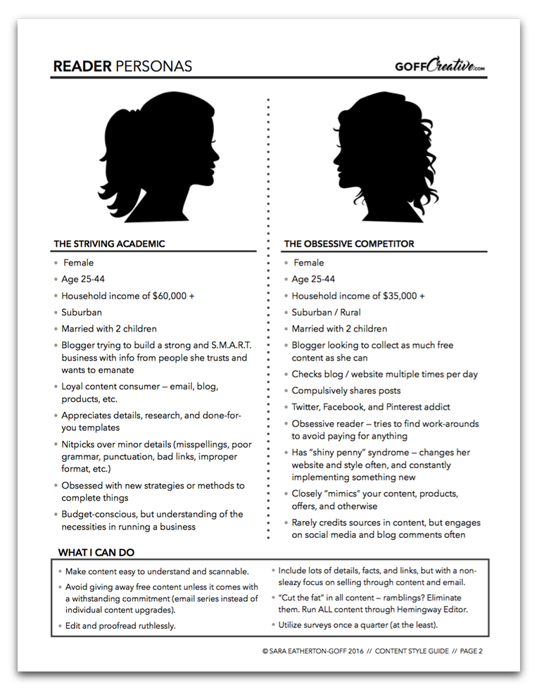 An example of my reader personas used as the second page of my content style guide for GoffCreative.com