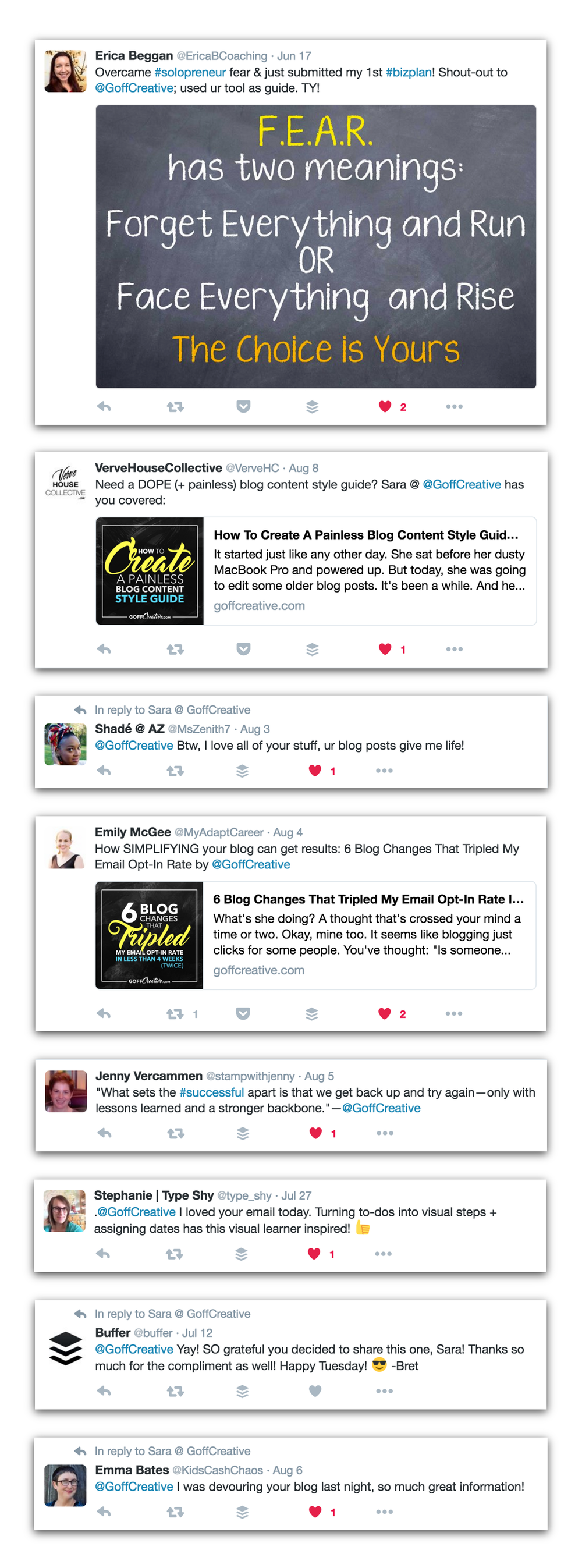 "Examples of social media ""social proof"" and praise from blog content."