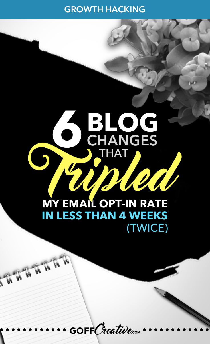 6 uncommon changes made to my blog caused an unexpected result. x2. Click through to see exactly what I did to triple my email opt-in rate. Twice. + Free workbook and online video course access �