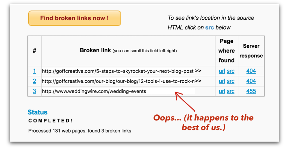Examples of some broken links I found on my website.