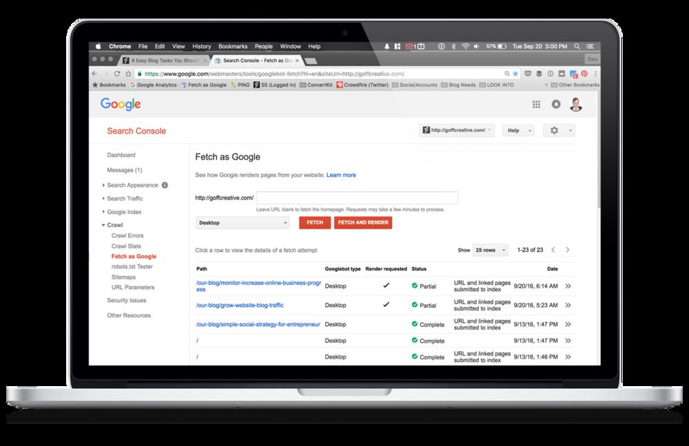 Fetch as Google Example | GoffCreative.com