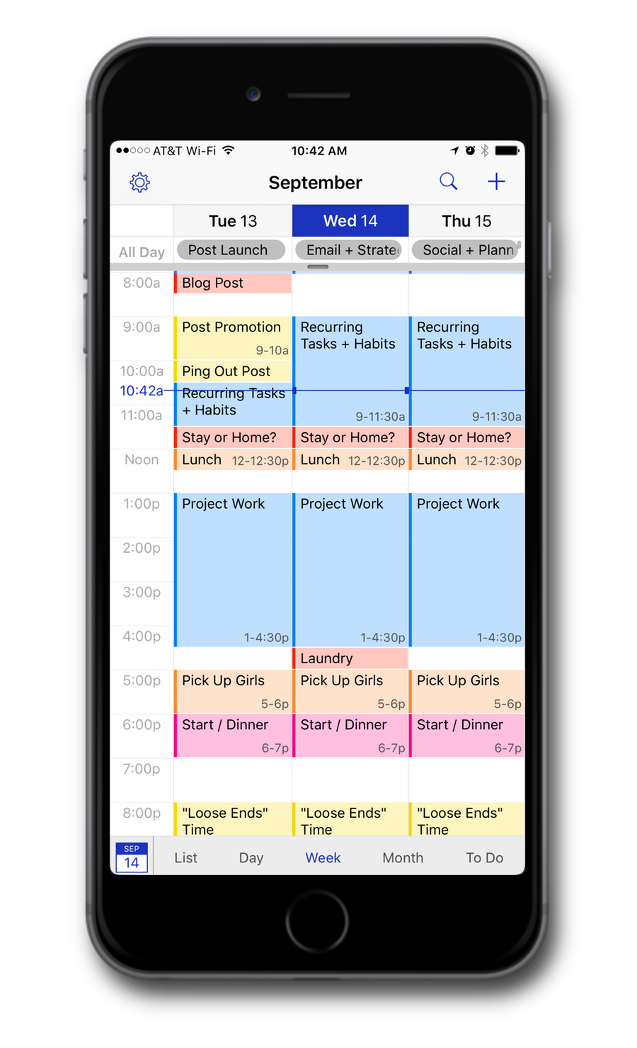 Example schedule of Daily Themes and Time Blocks to break up the day for your best use of time.