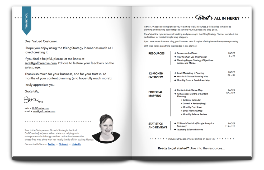 Example from the #BlogStrategy Planner introductory pages (pre- instructions and suggested use + tips)