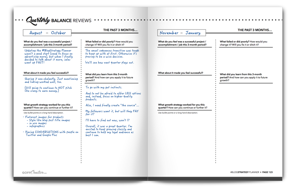 Example from the Quarterly Balance Review pages inside the #BlogStrategy Planner.
