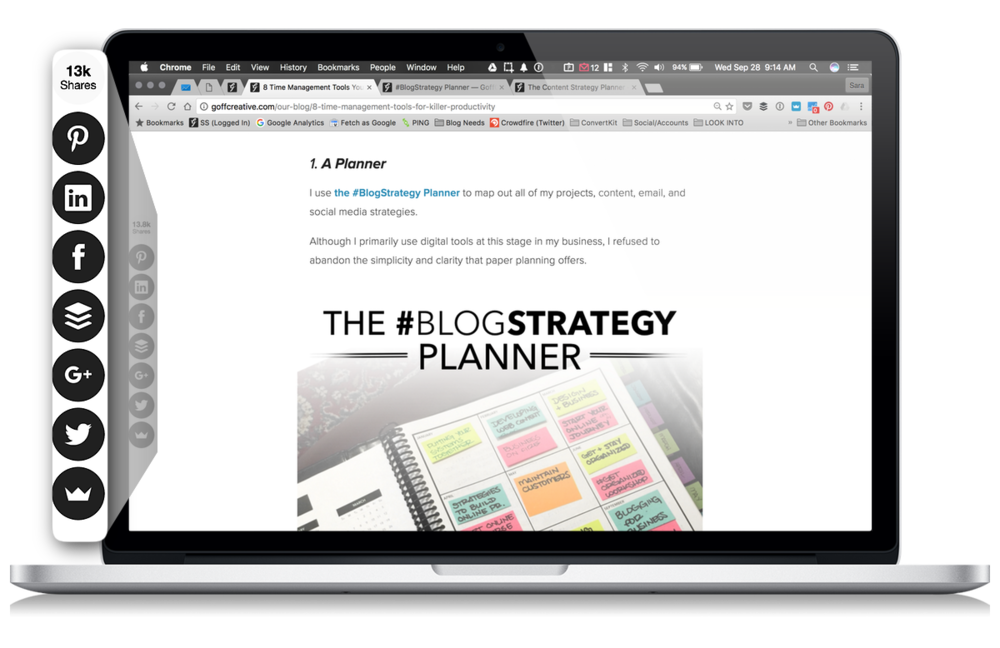 "The #BlogStrategy Planner featured in the ""8 Time Management Tools You Should Use For Killer Productivity"" post—shared over 13,000 times."