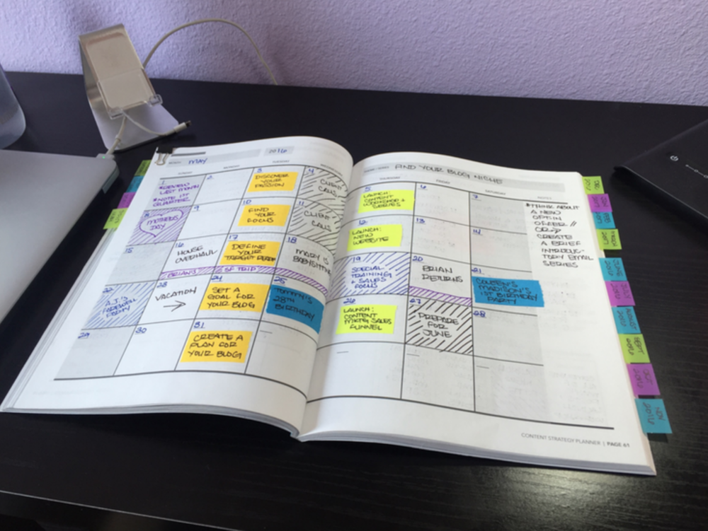 Example from the Content Strategy Planner's calendar pages.