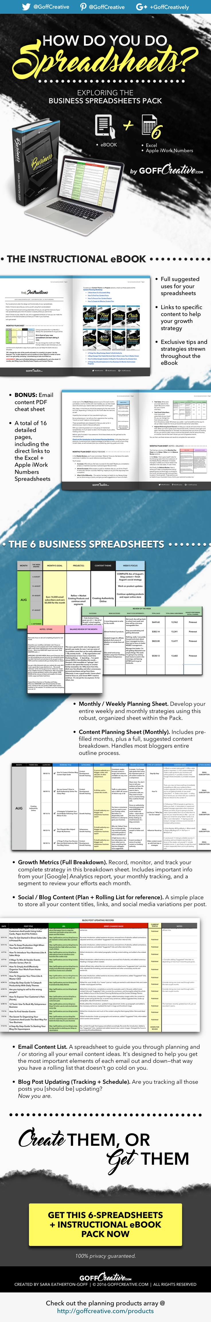 Whether you love using spreadsheets for your business or not, this infographic shows you key components to creating your own business system, or getting the one I built instead. Click through to get more details or grab your full pack, or Save this for later!