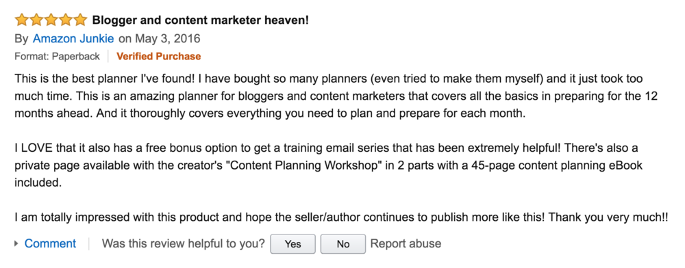 Comment on the Content Strategy Kit / Content Strategy Planner via Amazon.com