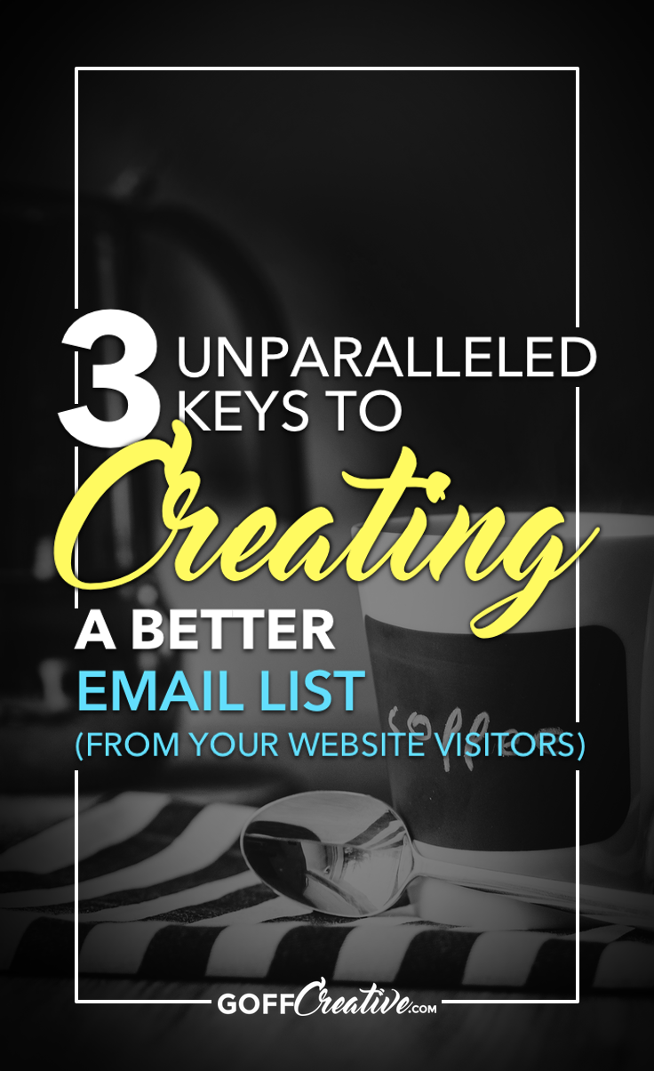 Does your email list suck? (Maybe it's just non-existent…?)  No worries. I've figured out 3 keys that'll unlock the potential of your future email list packed with high-quality subscribers. Here are my simple, rock-solid factors to re-building my stagnant email list into an engaged, opening, clicking, buying, and sharing community of doers. Click through to get the 3 keys, or Save this for later!