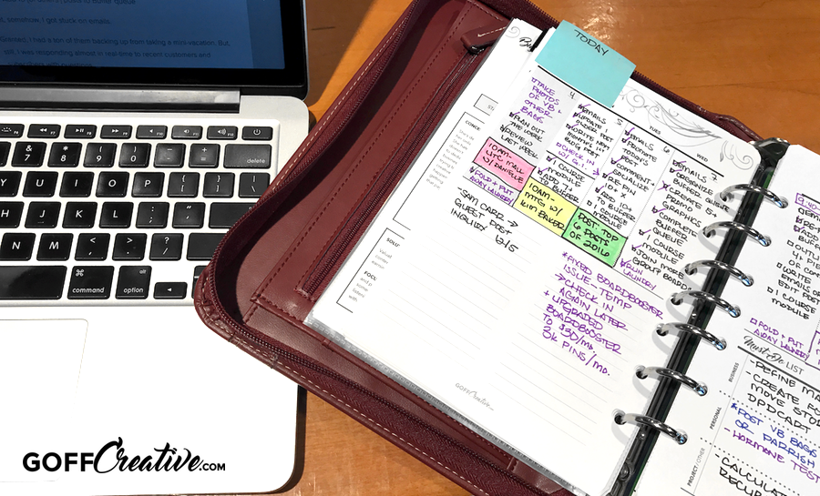 A photo of my personal and business planner (custom created) | GoffCreative.com